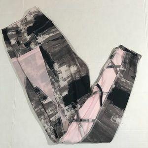 Marika pink mesh and gray lattice leggings